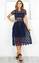 Magic Mystery dress in navy crochet
