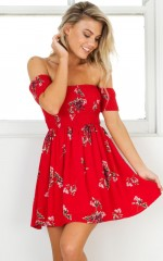 Falling For You dress in red floral