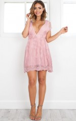 Faded Pictures dress in mauve lace