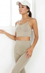 Hold It Crop Top in Khaki