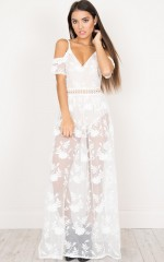 Up For It Dress in white lace