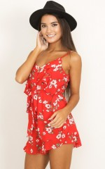 Never Jealous playsuit in red print
