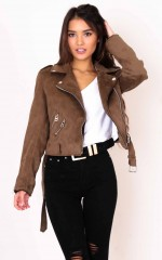 One Two Step jacket in khaki suedette