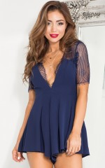 Sheer Delight playsuit in navy