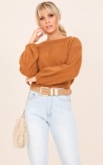 One More Thing knit in camel