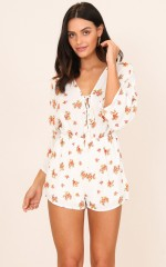 Meet You There playsuit in white floral