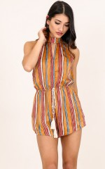 Real Eyes playsuit in mustard stripe