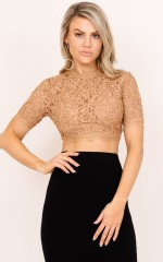 Me First crop top in mocha lace