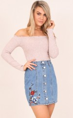 Free Time denim skirt in mid wash