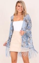 Find My Love kimono in blue floral