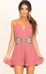 Ruffled And Ready playsuit in mauve