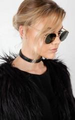 Goth Girl choker in black leather