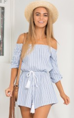 Hidden Heart playsuit in blue stripe