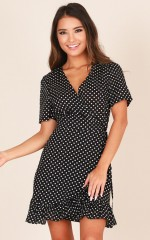 Sugar And Spice dress in black polka dot