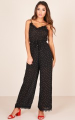 Dream Boat Jumpsuit in black polkadot