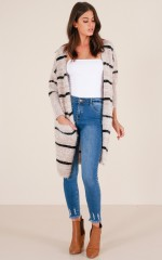 Straight Up cardigan in beige stripe