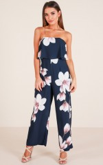 Send It To Me jumpsuit in navy floral