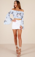 Floral Romance top in blue floral