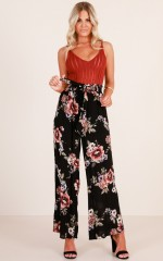 Quick To Judge pants in black floral