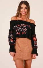 Just Perfect top in black embroidery