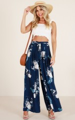 Too Much Future pants in navy floral