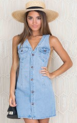Get Up dress in light wash denim