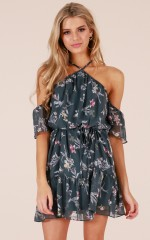 Only My Dreams dress in teal floral