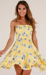 Deep Dive dress in yellow floral