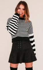 Draw A Line knit in black stripe