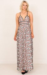 Aura Maxi Dress in Black and Nude