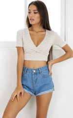 Papercuts crop top in mocha stripe