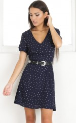Casual Party dress in navy print
