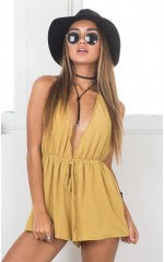 Chase The Sun Playsuit in Mustard