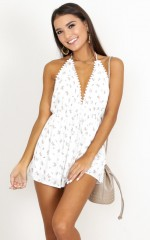 Evangeline Playsuit in white