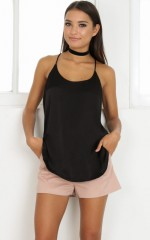 Chasing Summer top in black sateen