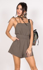 Falling Away Playsuit in khaki