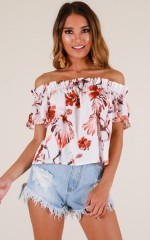Fickle Heart top in white floral