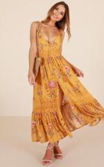 Lily Field maxi dress in mustard floral