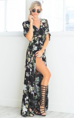 Lone Traveller maxi dress in black floral
