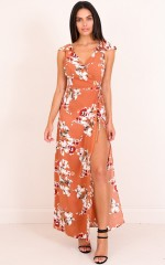 One Last Night Maxi Dress in Rust Floral
