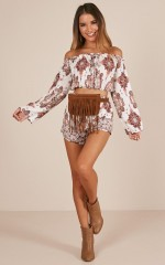 Dance All Day Two Piece Set in white paisley print