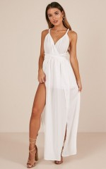 Just My Type maxi playsuit in white