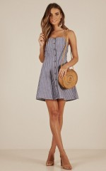 Can You Keep Up dress in blue stripe