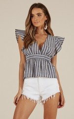 Even In My Dreams top in blue stripe