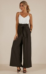 Boss Life pants in black stripe