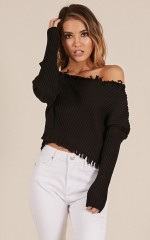 Save Your Breath knit top in black