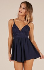 Sitting Waiting Wishing playsuit in navy