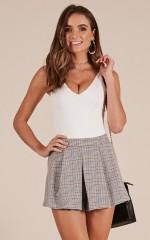 Pretty In Pleats shorts in grey plaid