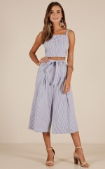 Get Back At It two piece set in blue stripe