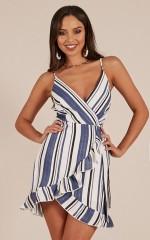 Girl Next Door dress in blue stripe